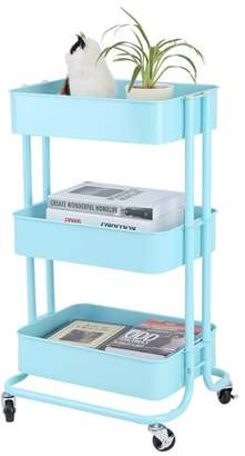Qiilu Storage Rack, 3 Tiers Trolley Cart Storage Rack, Sturdy Easy Moving Rolling Trolley With Wheels, Lightweight Portable Book Food Storage Shelving Casters Trolley Space Saver for Home Kitchen Bedroom
