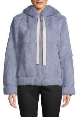 Robert Rodriguez Dyed Rabbit Fur Hooded Jacket