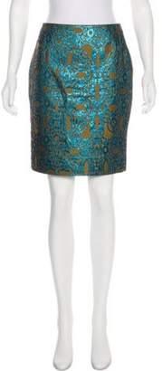 Dries Van Noten Metallic Brocade Skirt Turquoise Metallic Brocade Skirt