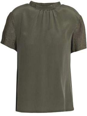 Claudie Pierlot Draped Cutout Jersey And Washed-Silk Top