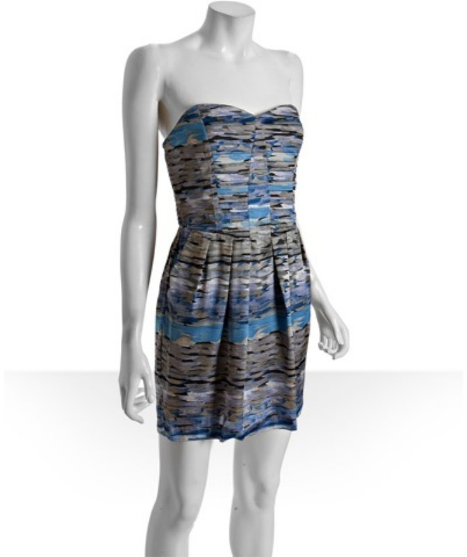 BCBGMAXAZRIA BCBGeneration lake abstract print pleated strapless dress