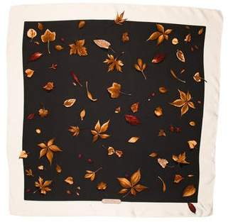 Salvatore Ferragamo Leaf Print Silk Scarf