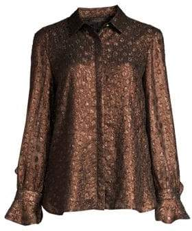 Donna Karan Women's Bronze Dotted Ruffle Blouse - Bronze - Size XXS