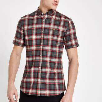 River Island Mens Red check wasp embroidery short sleeve shirt