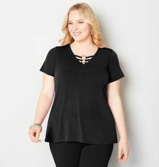 Avenue Plus Size 3-Ring Cage Top