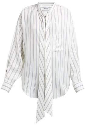 ad0b948a39a5 Balenciaga Logo Print Striped Silk Satin Blouse - Womens - Ivory Multi