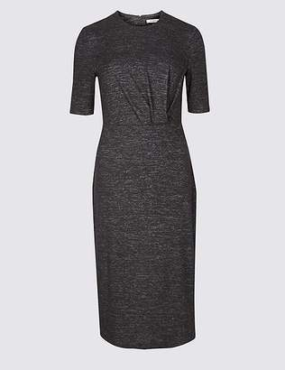 Marks and Spencer Textured Half Sleeve Bodycon Midi Dress