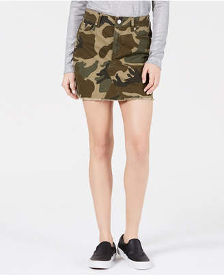 KENDALL + KYLIE Cotton Camo-Print Skirt