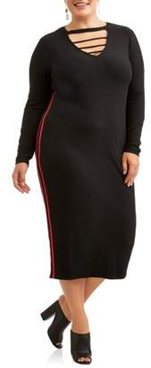 Eye Candy Women's Plus Long Sleeve Caged Midi Dress with Varsity Stripes