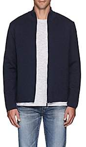 Barneys New York Men's Compact Knit Wool Zip-Front Sweater - Navy