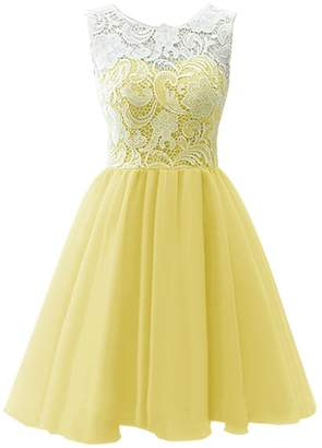 Dresstells® Short Tulle Prom Dress Bridesmaid Dress Party Dress with Lace