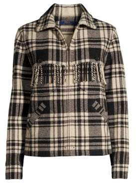 Polo Ralph Lauren Fye Plaid Fringe Jacket