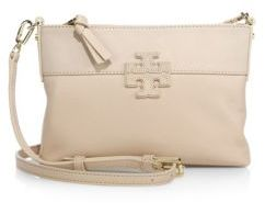 Tory Burch Stacked T Leather & Suede Crossbody Bag $250 thestylecure.com