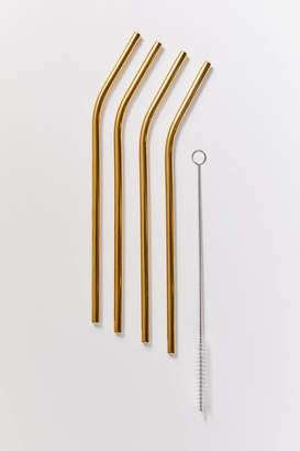 Urban Outfitters Angled Stainless Steel Straw Set