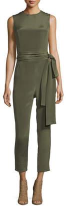 Pascal Millet Jewel-Neck Sleeveless Straight-Leg Belted Jumpsuit
