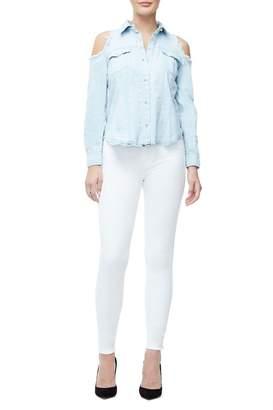 Ga Final The Shoulderless Pearls Denim Shirt - Blue142