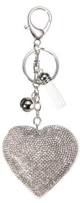 Charm & Chain mtqsun Heart Pendant Key Charm Chain Faux Crystal Rhinestone Keyring Purse Car Key Charms Alloy Keyfob White