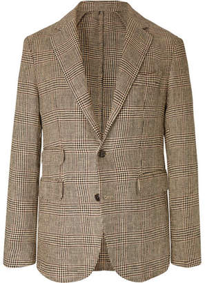 BEIGE Man 1924 MAN 1924 Kennedy Slim-fit Unstructured Prince Of Wales Checked Linen Blazer