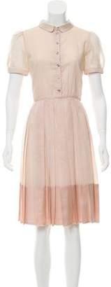 Burberry Short Sleeve A-Line Dress