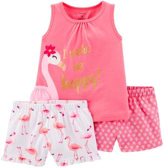 Carter's Toddler Girl Flamingo Top & Shorts Pajama Set
