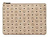 MCM Women's Medium Visetos Original Leather Pouch
