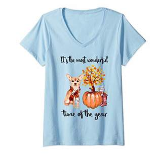 Womens It's The Most Wonderful Time Of The Year Chihuahua Autumn V-Neck T-Shirt
