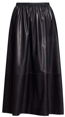 The Row Tilia Leather Midi Skirt - Womens - Navy