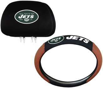 New York Jets Steering Wheel & Head Rest Cover Set