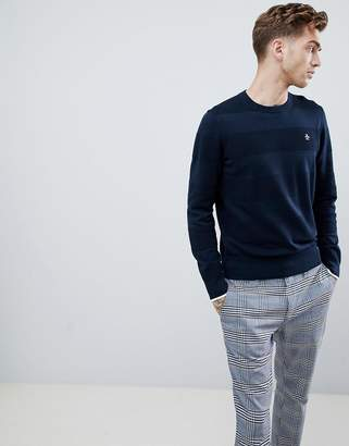 Original Penguin tipped cuff textured crewneck knit sweater small logo in navy