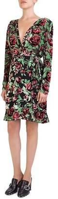 The Kooples Rose Burnout Velvet Wrap Dress
