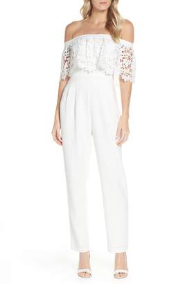 cb298433863 Eliza J Popover Lace Off the Shoulder Jumpsuit
