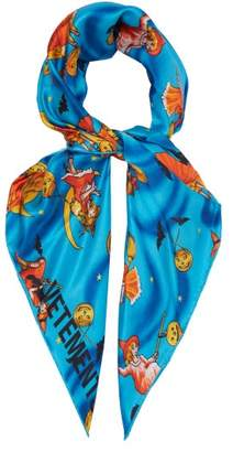 Vetements Halloween Print Silk Scarf - Womens - Blue