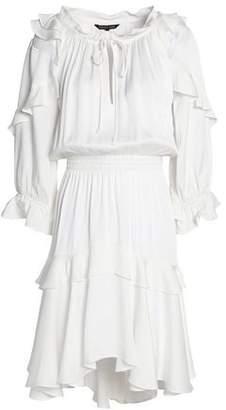 Marissa Webb Tulle-Trimmed Ruffled Satin-Crepe Dress