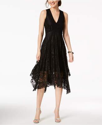 Taylor Printed Lace Handkerchief-Hem Dress