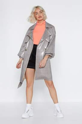 Nasty Gal Shine Baby Shine Houndstooth Trench Coat