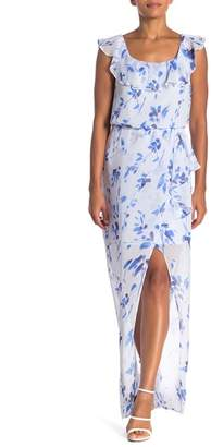 Nine West Floral Ruffle Maxi Dress