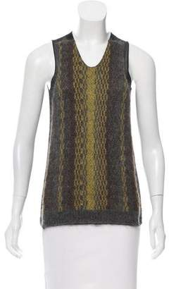 Marni Knit-Paneled Semi-Sheer Top