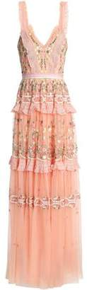 Needle & Thread Tiered Embroidered Tulle Gown