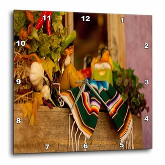 3dRose Hispanic Girl and Boy Ceramic Hanging on a Mirror with Hot Chilis and Leaves at Mexican Restaurant, Wall Clock, 10 by 10-inch