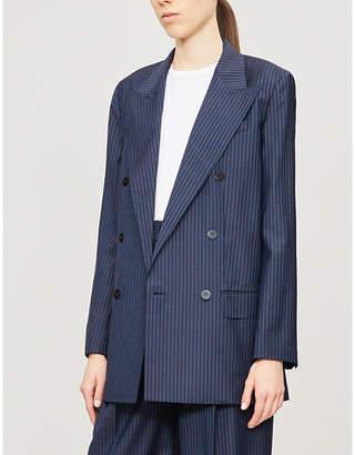 Theory Striped padded-shoulder wool blazer