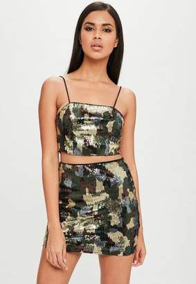 Missguided Carli Bybel x Green Camo Sequin Skirt