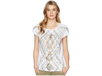Tribal Jersey Cap Sleeve Top with Beaded Detail