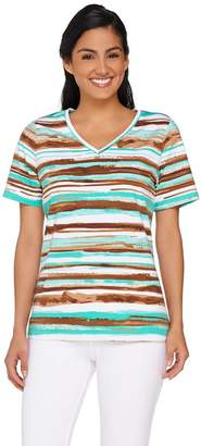 Denim & Co. Painter Stripe Printed Short Sleeve Top