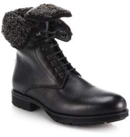 Aquatalia Hayden Shearling-Lined Leather Lace-Up Boots