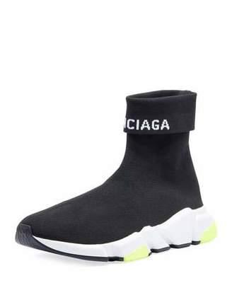 Balenciaga Men's Speed High-Top Stretch-Knit Sock Sneakers