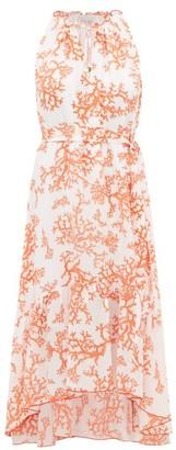 Heidi Klein Belize Coral Print Dipped Hem Silk Dress - Womens - Red White