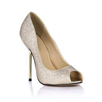 DolphinBanana DolphineGirl Women Fashion Silver Glitter Peep Toe High Heels D'Orsay Pump Stiletto SM00190