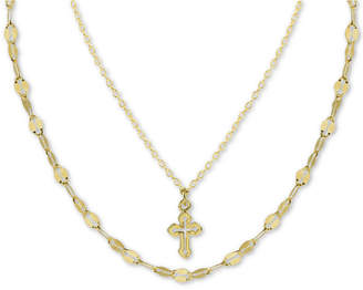 "Argentovivo Cross Double Layered Pendant Necklace in Gold-Plated Sterling Silver, 12"" + 3"" extender"