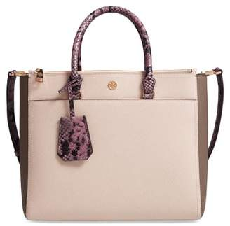 Tory Burch Robinson Colorblock Double Zip Leather Tote