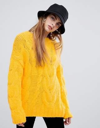 Bershka oversized cable sweater in yellow
